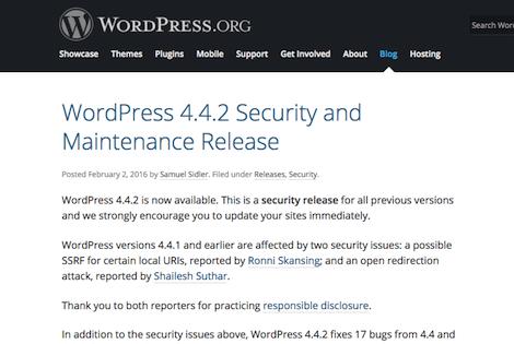 WordPressの最新バージョンで情報流出の脆弱性に対処