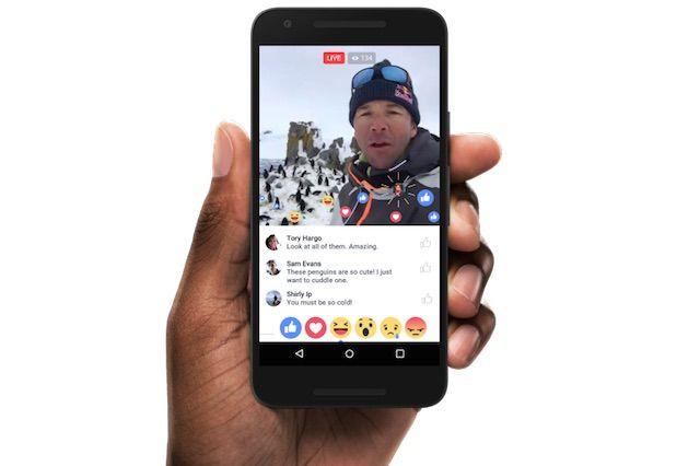 Facebook ライブ動画リアクションボタン