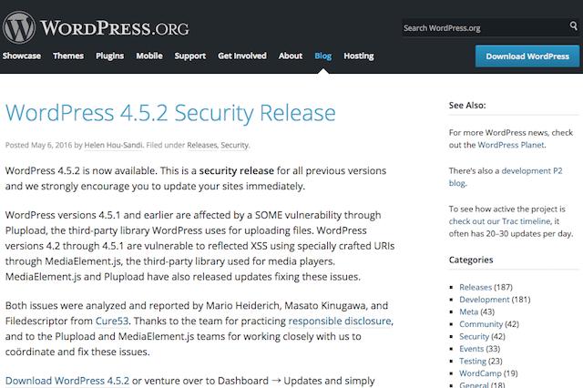 WordPressの4.5.1以前のバージョンに脆弱性