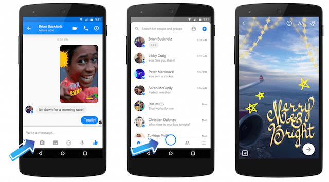 Facebookメッセンジャーのカメラ機能に追加された即時撮影機能