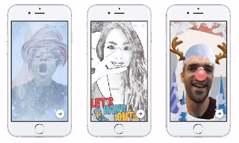 Facebookメッセンジャーのカメラ機能に追加されたデザインフレーム、3Dマスク追加機能、特殊効果